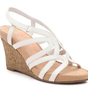 aerosoles lux plush wedge sandal white 6.5